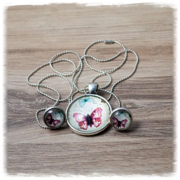 Set aus Kette und Ohrsteckern mit rotem Schmetterling in Silberfassung