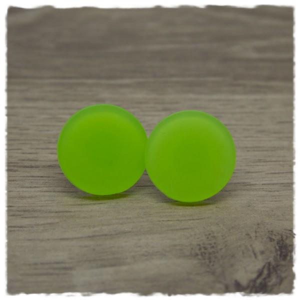 1 Paar Ohrstecker in 20 mm grün matt