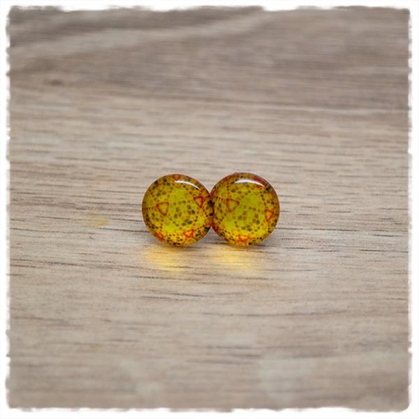 1 Paar Ohrstecker in 12 mm Kaleidoskop gelb