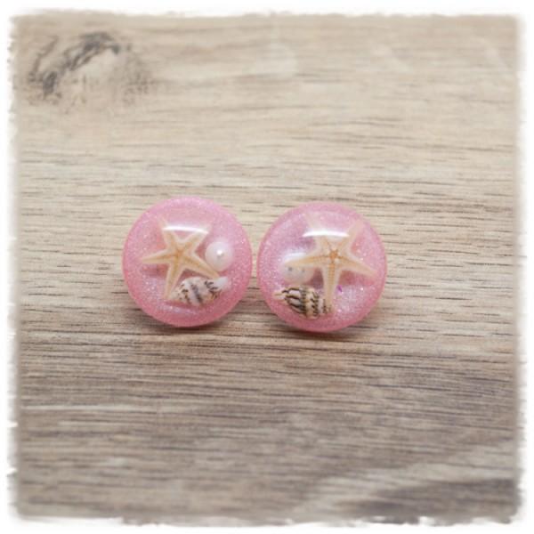 1 Paar Ohrstecker in 20 mm rosa mit Muschel und Seestern (wahlweise als Ohrclips)