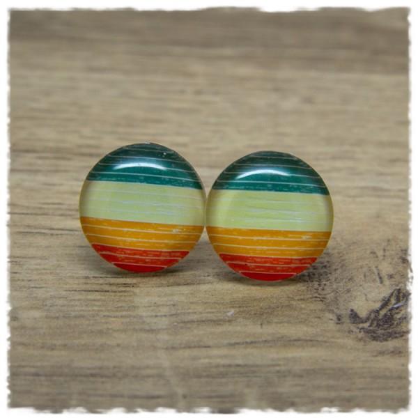1 Paar Ohrstecker mehrfarbig gestreift in hellen Tönen