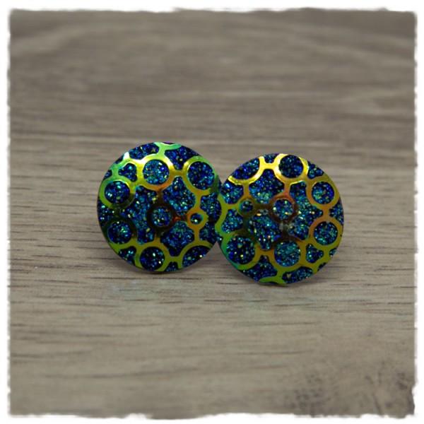 1 Paar Glitzerohrstecker 20 mm in dunkelblau mit Muster