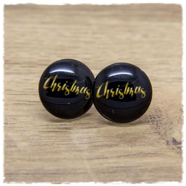 1 Paar Ohrstecker MERRY Christmas auf schwarzem Hintergrund