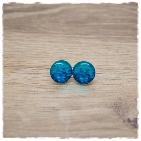 1 Paar Ohrstecker in 12 mm blau gemustert