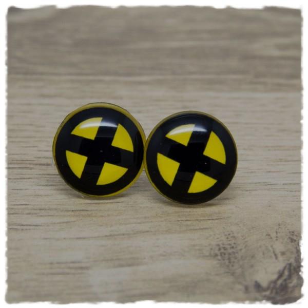 1 Paar Ohrstecker in 20 mm gelb mit schwarzem Kreuz