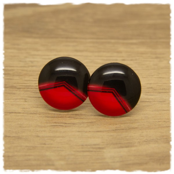1 Paar Ohrstecker rot schwarz gemustert