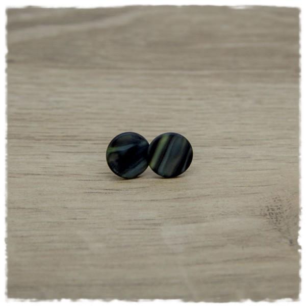 1 Paar Ohrstecker in 12 mm graublau gestreift