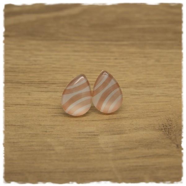 1 Paar kleine Ohrstecker in Tropfenform rosa weiß gestreift
