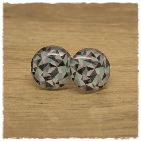 1 Paar Ohrstecker mit geometrischem Muster