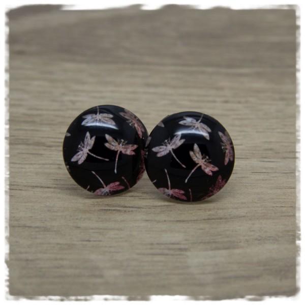 1 Paar Ohrstecker schwarz mit rötlichen Libellen