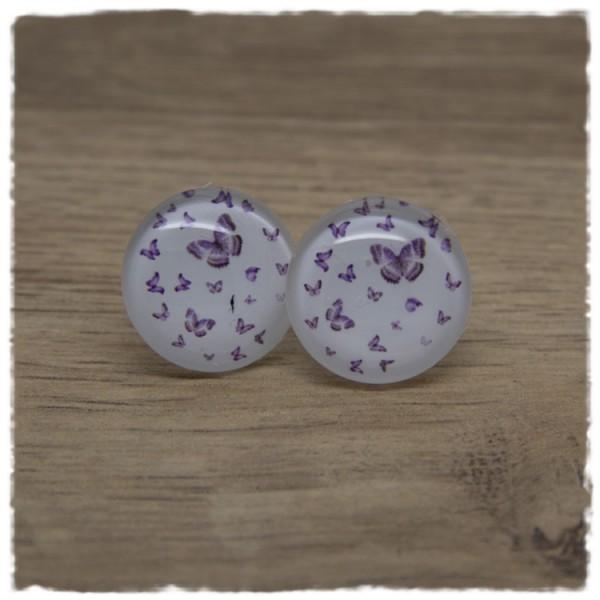 1 Paar Ohrstecker weiß mit lila Schmetterlingen