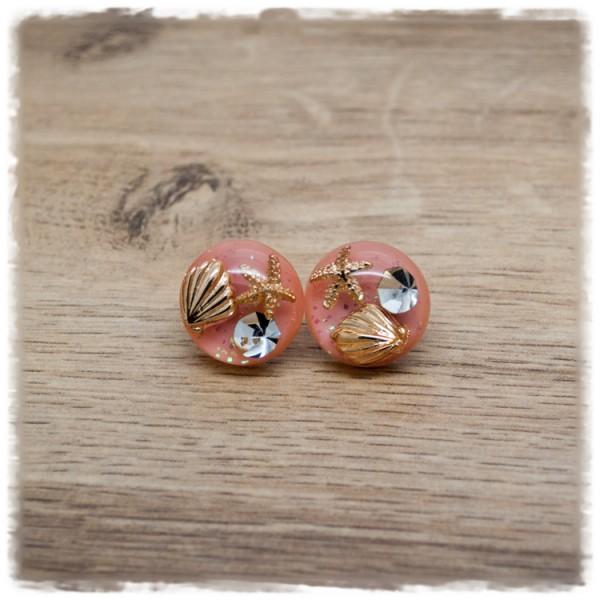 1 Paar Ohrstecker 18 mm rosa mit Muschel und Seestern (wahlweise als Ohrclips)
