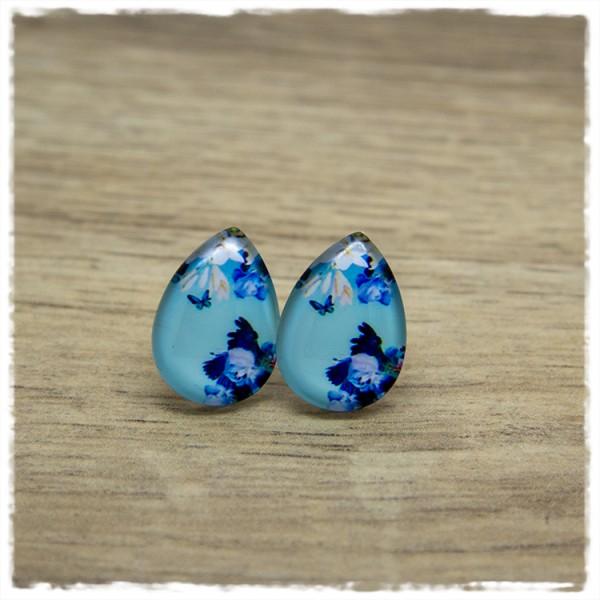 1 Paar kleine Ohrstecker in Tropfenform blau mit Blüten