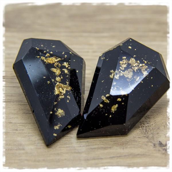 1 Paar große Ohrstecker in Tropfenform XXL in schwarz mit goldenen Glitterflakes