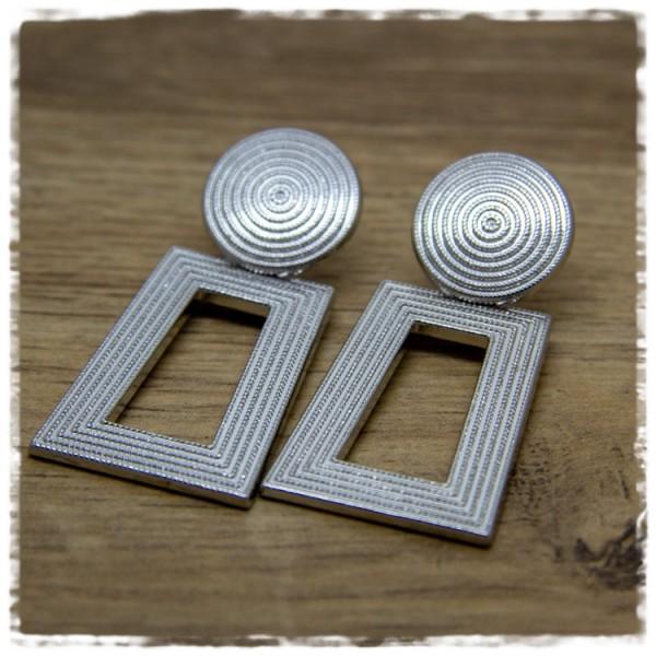 1 Paar Ohrhänger in 40 mm rechteckig silbern
