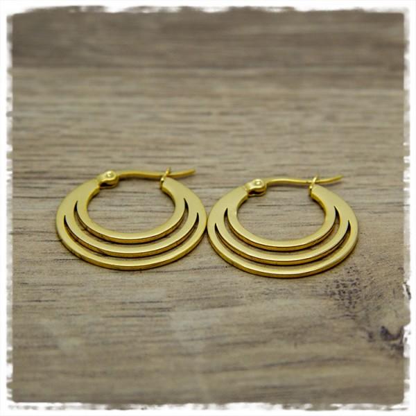 1 Paar Ohrhänger in 25 mm in golden rund