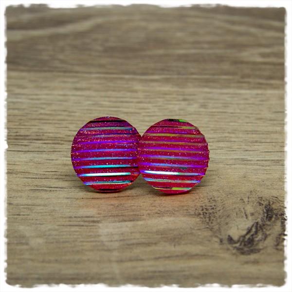 1 Paar Ohrstecker in 20 mm Glitzer rosa gestreift