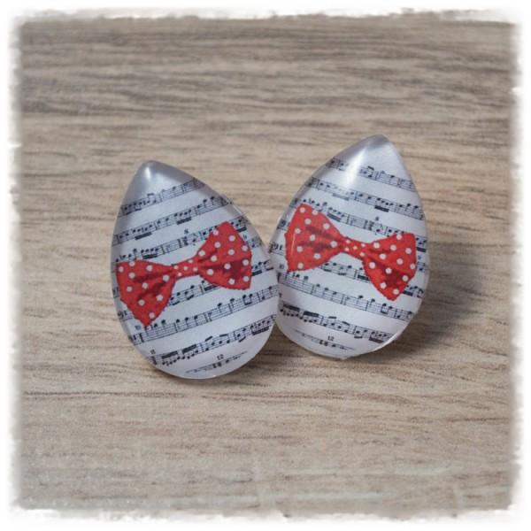 1 Paar Ohrstecker in Tropfenform weiß mit roter Schleife