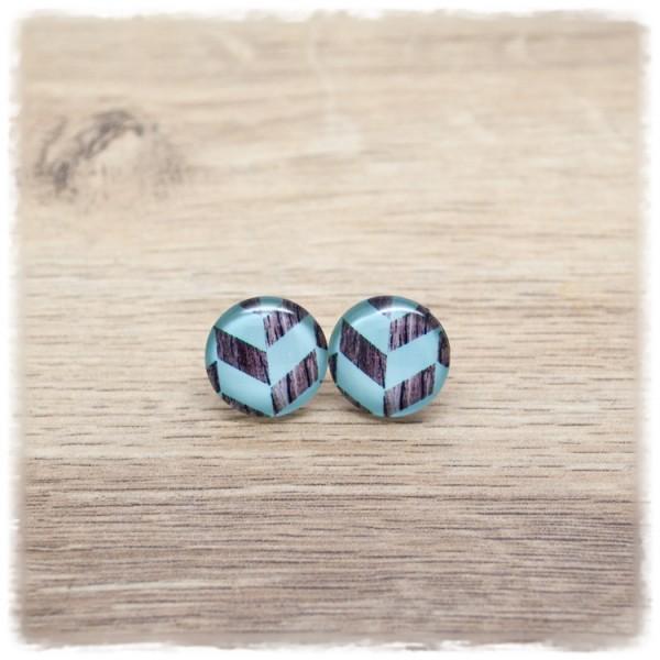 1 Paar Ohrstecker in 16 mm hellblau mit Holzdekor (wahlweise als Ohrclips)