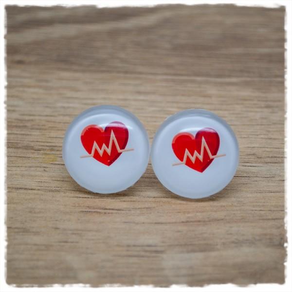 1 Paar Ohrstecker Herz mit Herzlinie