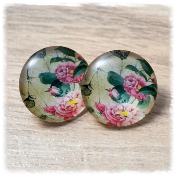 1 Paar Ohrstecker in 25 mm mit rosa Blumen auf beigem Hintergrund (wahlweise als Ohrclips)
