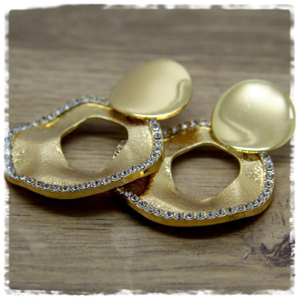 1 Paar Ohrhänger in 40 mm golden mit Glitzersteinen