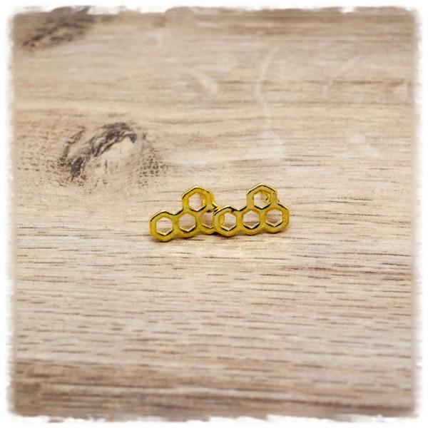 1 Paar Ohrstecker in 16 mm Wabenmuster golden