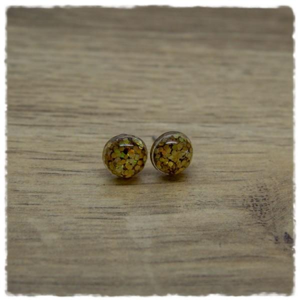 1 Paar Ohrstecker in 10 mm mit gelbem Glitter