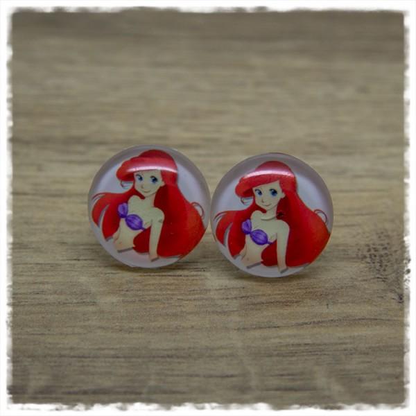 1 Paar Ohrstecker mit rothaarigem Mädchen