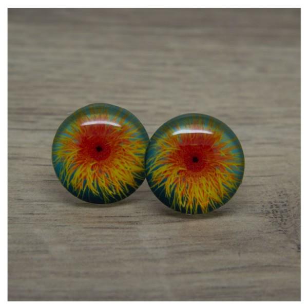 1 Paar Ohrstecker in 20 mm mit Blüte in orange und gelb