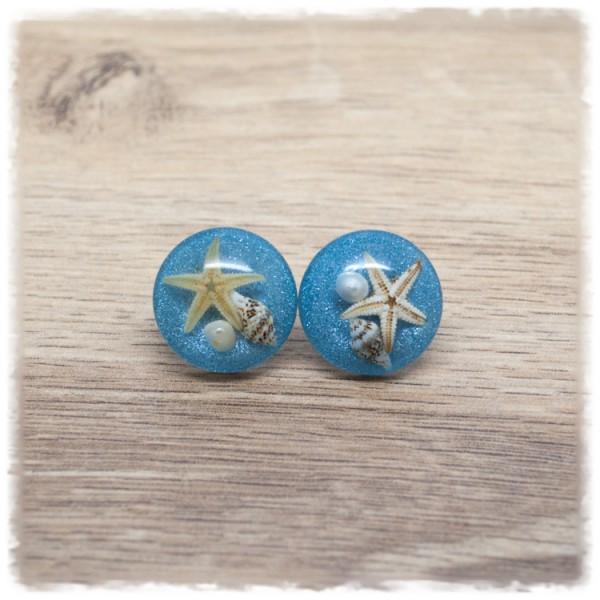 1 Paar Ohrstecker in 20 mm blau mit Muschel und Seestern (wahlweise als Ohrclips)