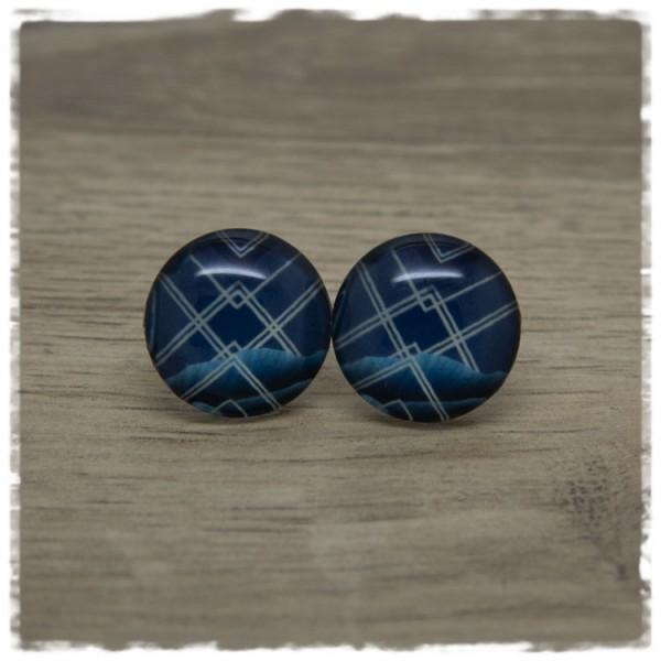 1 Paar Ohrstecker dunkelblau mit Strichen