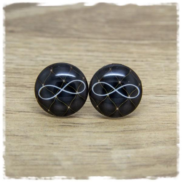 1 Paar Ohrstecker schwarz mit Unendlichkeitszeichen