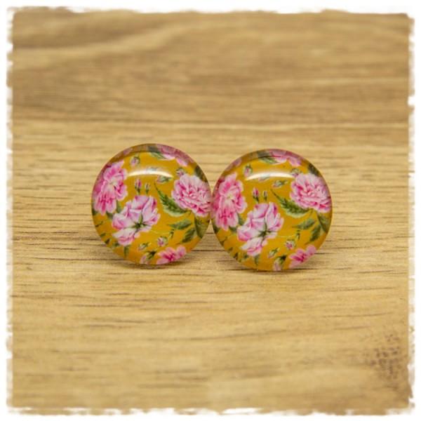 1 Paar Ohrstecker ocker mit rosa Blüten