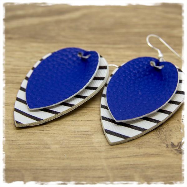 1 Paar Lederohrhänger schwarz weiß und blau