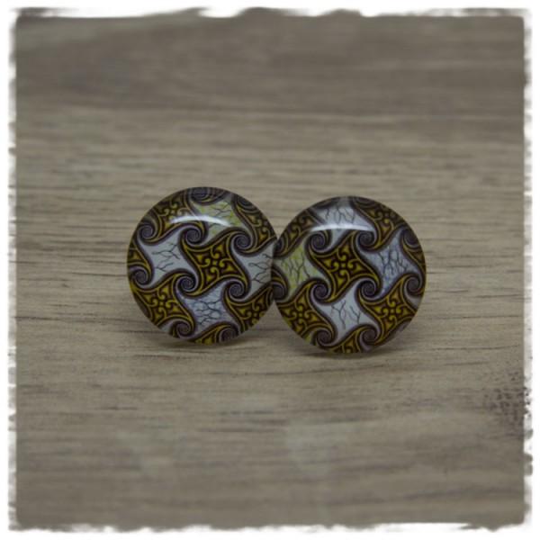 1 Paar Ohrstecker in 20 mm mit gold braunem Muster