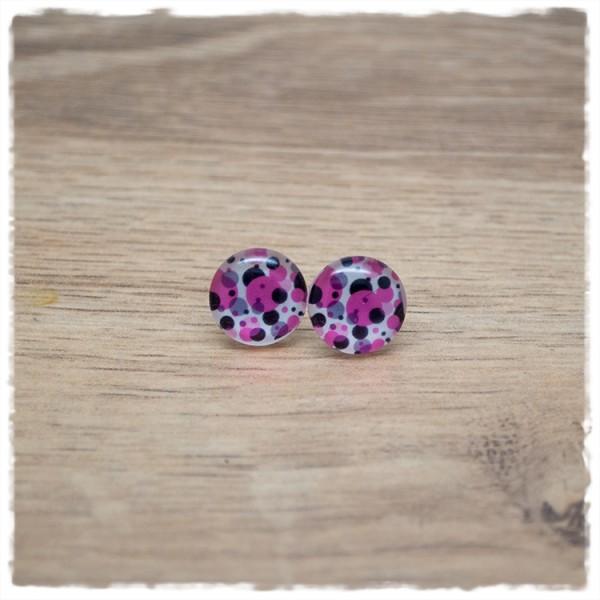 1 Paar Ohrstecker in 12 mm mit pinken und schwarzen Punkten
