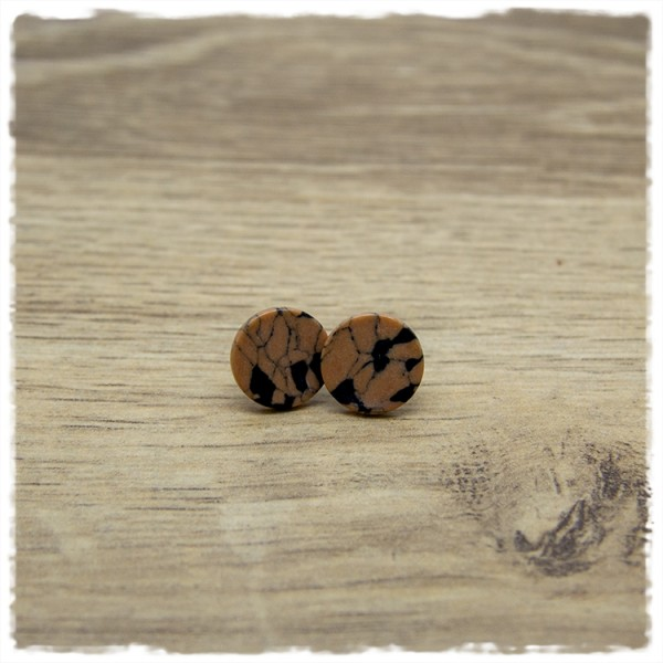 1 Paar Ohrstecker in 12 mm braun schwarz marmoriert