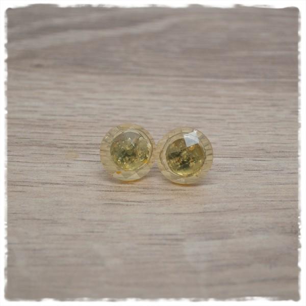 1 Paar Ohrstecker 14 mm einfarbig gelb geschliffen