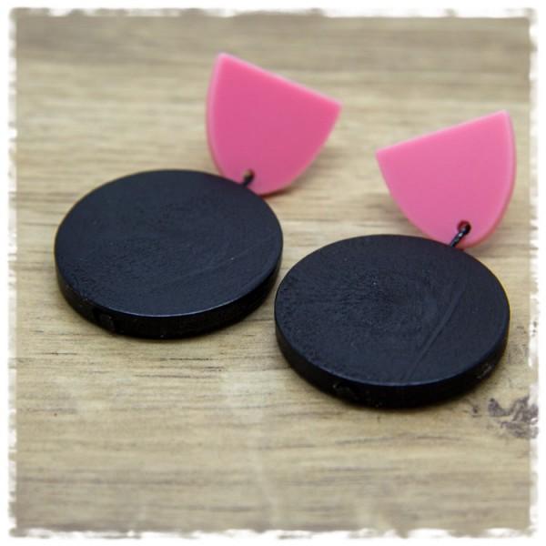 1 Paar Ohrhänger 30 mm in schwarz und rosa