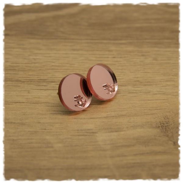 1 Paar flache Ohrstecker in 16 mm rose spiegelnd mit Ankerausschnitt