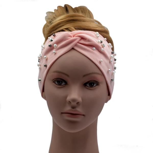 Haarband rosa mit Perlenapplikation