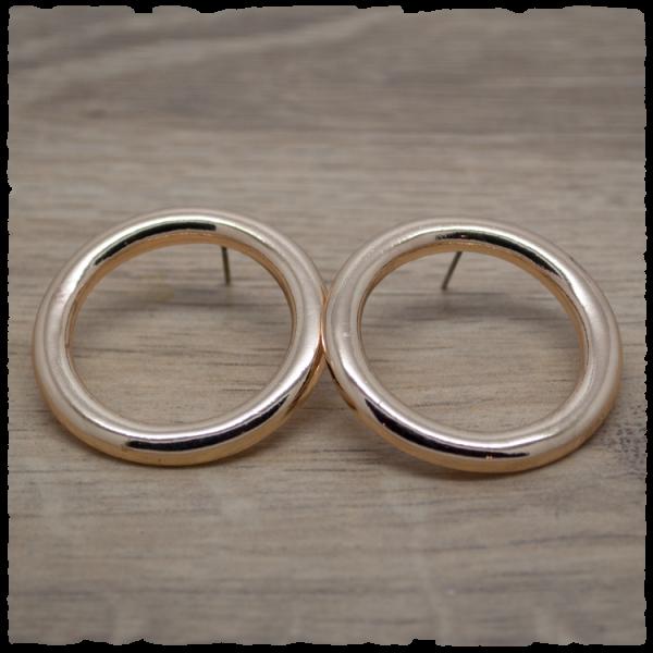 1 Paar Ohrstecker in 35 mm rund einfarbig gold