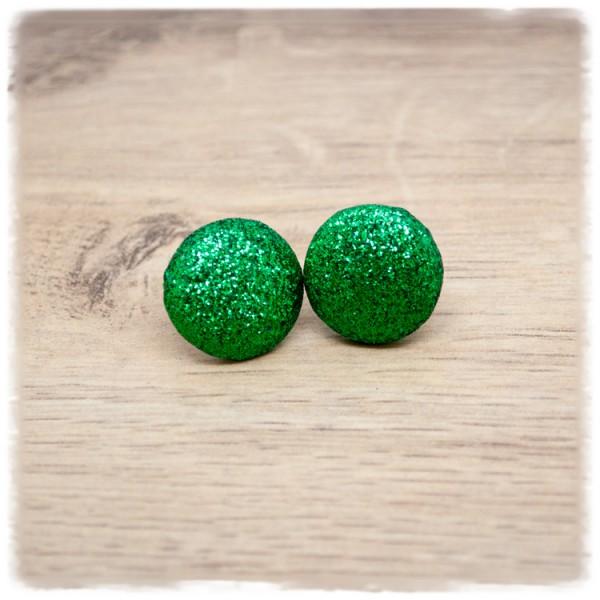 1 Paar Glitzerohrstecker 16mm in grün (wahlweise als Ohrclips)