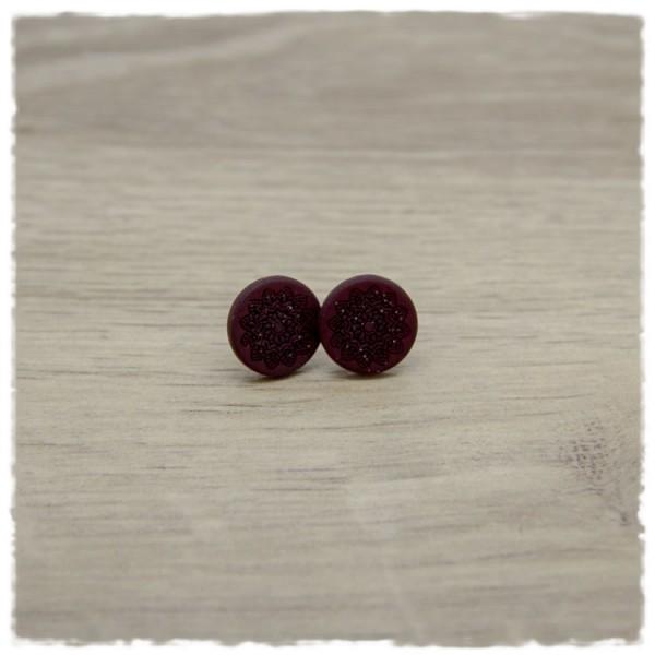 1 Paar Ohrstecker in 12 mm matt dunkelrot mit Mandala