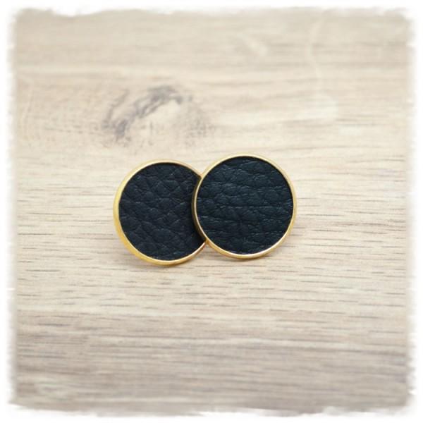 1 Paar Lederohrstecker schwarz mit goldener Fassung