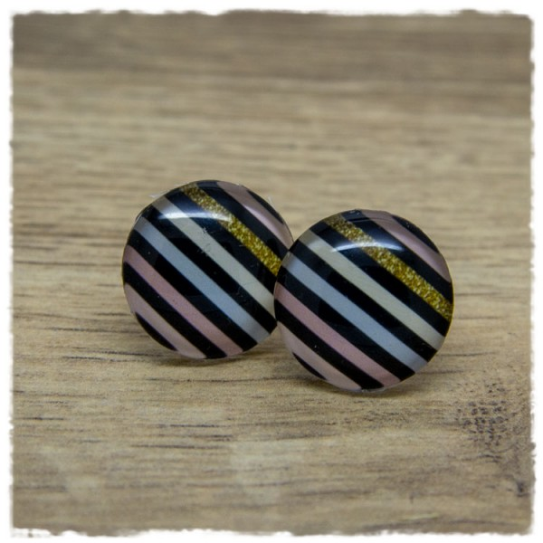 1 Paar Ohrstecker mit schwarzen und goldenem Streifen