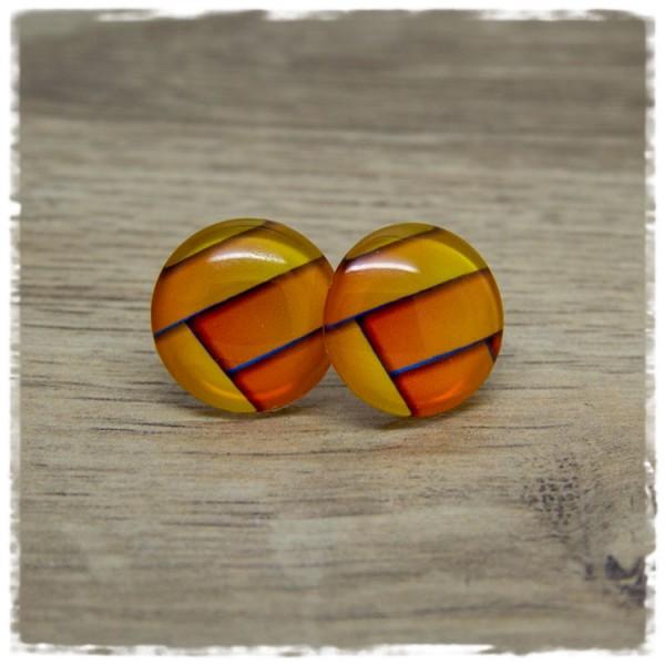 1 Paar Ohrstecker orange gemustert