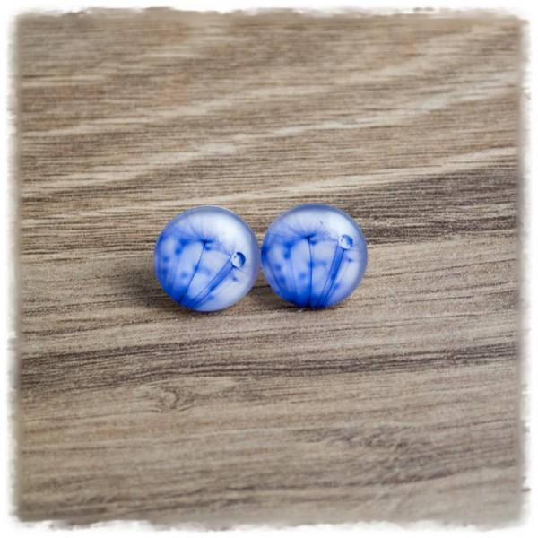 1 Paar Ohrstecker in 16 mm lila Pusteblumen auf weißem Hintergrund (wahlweise als Ohrclips)