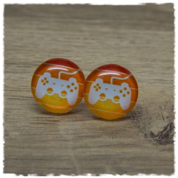 1 Paar Ohrstecker mit Kontroller auf orangen Streifen